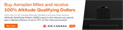 Buy Aeroplan Miles and receive up to a 75% bonus + 100% Altitude Qualifying Dollars up to $5,000