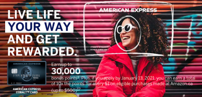 New American Express Cobalt Card welcome bonus offer - Up to 30,000 points + 10x points for Amazon.ca purchases