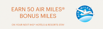 AIR MILES: 50 bonus miles for stays at IHG Hotels until December 28
